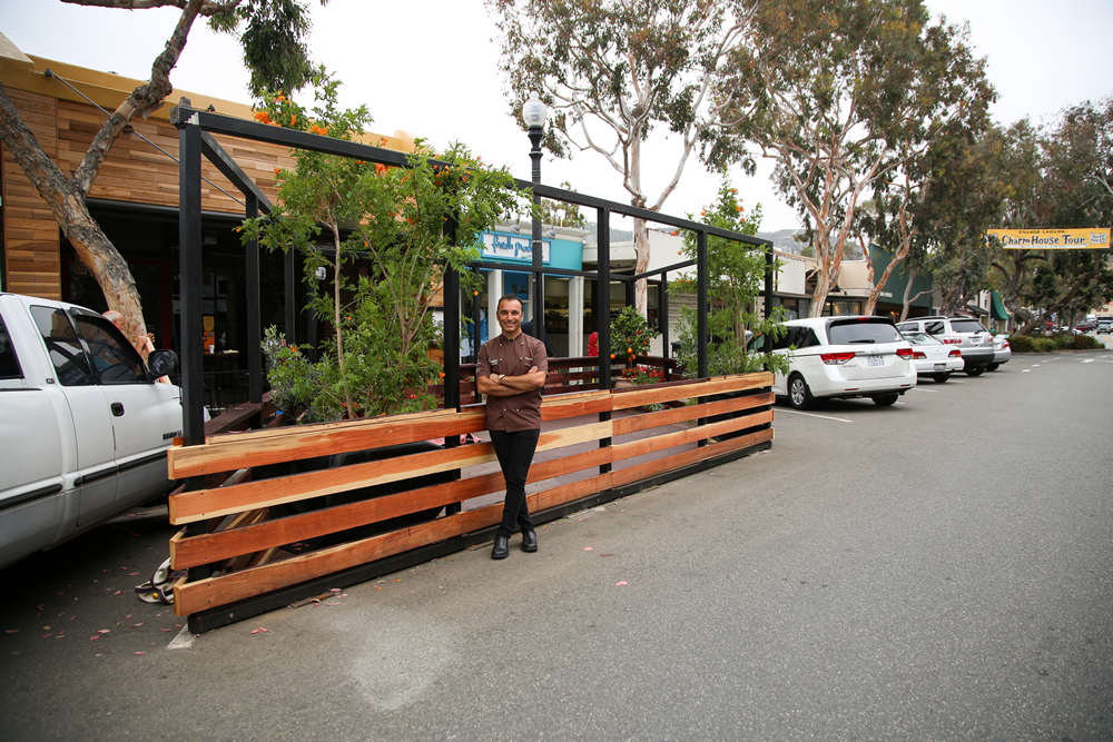 Chef Alessandro Pirozzi underwrote the new parklet after city officials asked him to participate in a pilot project. Photo by Jody Tiongco