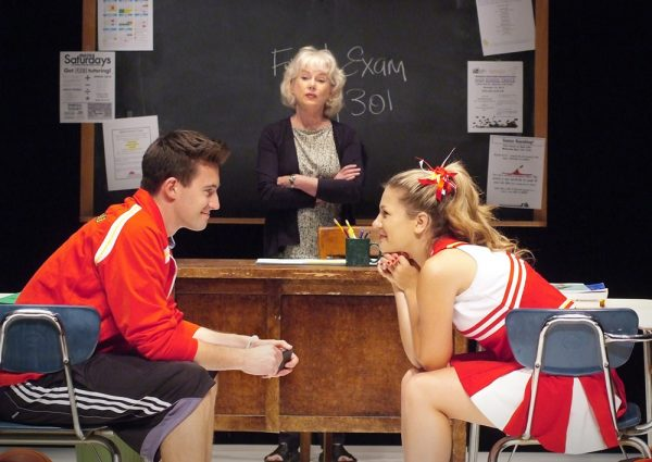 """Nick Tag, Julia Duffy and Alexandra Johnston in """"Sex and Education,"""" a one-act play in production at Laguna Playhouse through May 22. Photo by Ed Krieger"""