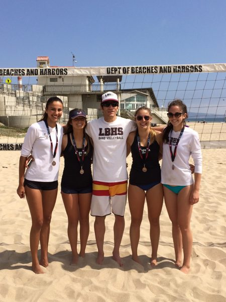 Breakers pairs captured bronze at the Girls IBVL Pairs Championships held at Dockweiler Beach Saturday, May 14. From left, Cammie Dorn, Katelyn Carballo, Coach Raul Papaleo, Katie Gavin and Lexi McKeown.
