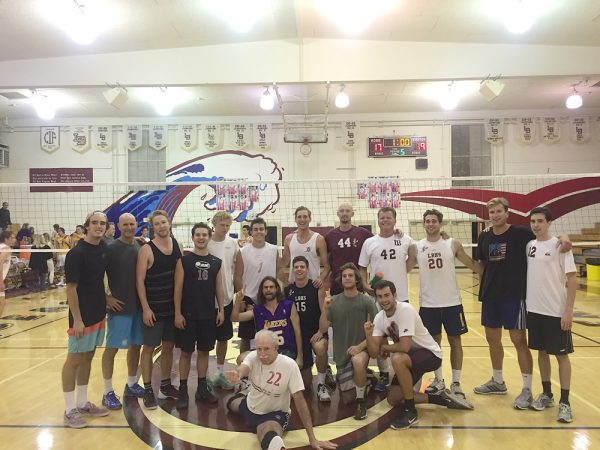 : From left, the alumni game, Scott Chapel with the dig with, Travis Woloson, Max McCarter, Grifan Fair, Jake Hexberg, and Weston Barnes. Sam Burgi, Barry Greenough, and Pete Obradovich behind the net for the varsity. Photo courtesy of Laguna Boys Volleyball