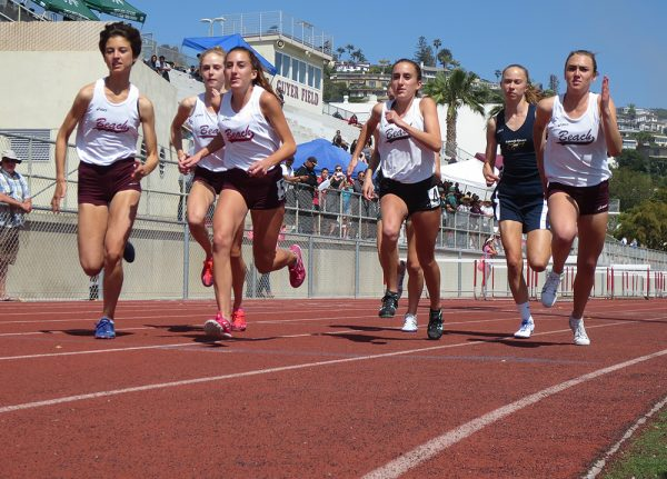 From left, Charlie Hoffs, Evie Cant, Lauryn Alvarez, Taylor Alvarez and Pearl Shoemaker compete in a meet Monday, May 2, at LBHS. Photo by Marilynn Young.