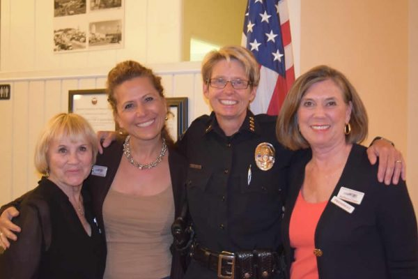 From left, club members Linda Shoemaker, Sima Jafarina and Barbara Crane with Chief Laura Farinella, second from right.