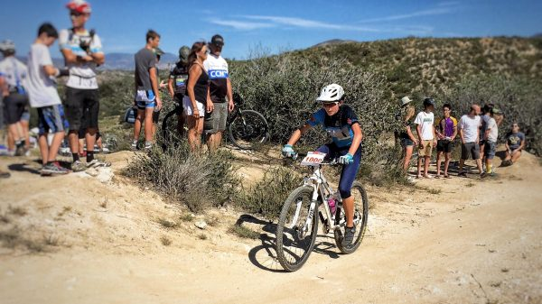 Cyclist Tasha Zentil at a recent competition. Photo courtesy of LB Interscholastic Mountain Bike Team.