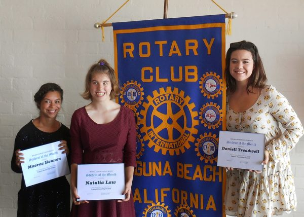 From left, Moorea Howson, Natalia Law and Daniell Treadwell earn honors from Laguna Rotary Club.