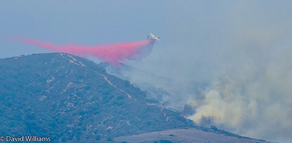 Fire retardant drops doused a slow-moving blaze in Laguna Canyon on Sunday, June 26. The origin of the fire is under investigation. Photo by David Williams