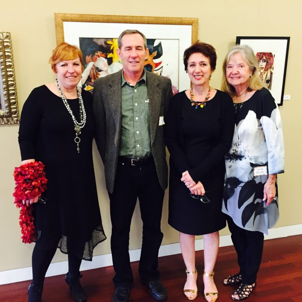 City Council member Bob Whalen joins Susi Q staff, from left, Laurie Smith, Nadia Babayi, and Carole Zavala at an artist reception.