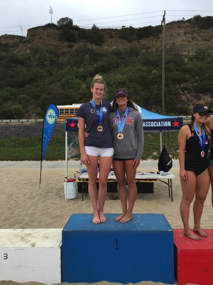 Laguna Beach High School junior Katie Gavin, right, won the in the U18 division of the California Beach Volleyball Association tournament in Hermosa Beach on June 12.
