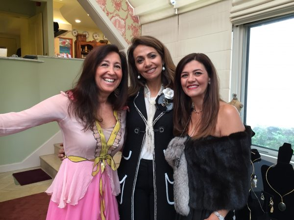 Host Suzy K. Elghanayan, left, with guests Marjan Tavakolian and Mitra Nasab.