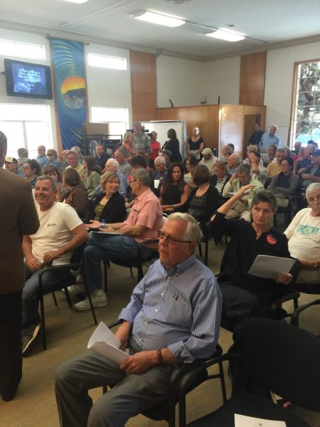 A full house listens to speakers describe potential risk of contamination from stockpile of spent fuel at the closed San Onofre plant.