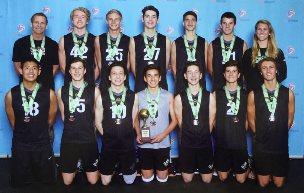 : Laguna Beach boys Patrick Vorenkamp, top, second from left, and Sam Burgi, top, second from right, among the 949 Volleyball players who came home with gold from a Dallas tournament. They are coached by Kari Pestolesi, top far right, and Tom Pestolesi, top far left.