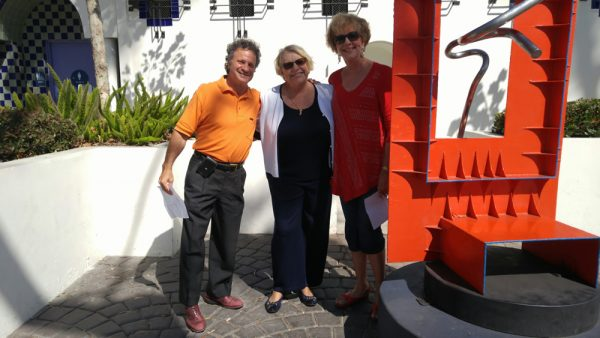 From left, Mayor Steve Dicterow with the artist's widow, Kay Pastorius-Waller, and Art Commission member Pat Kollenda.