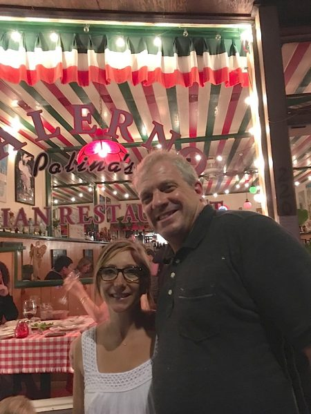 Salerno manager Alina Sanchez with loyal patron Jeff Redeker.