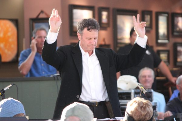 Earlier this summer, Mayor Steve Dicterow led a band performance.