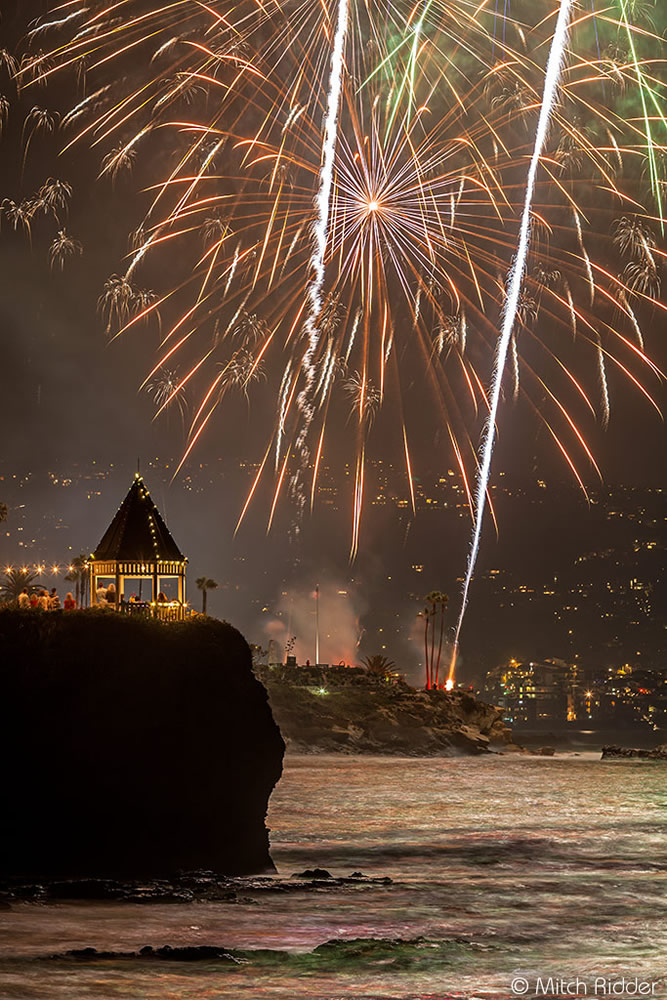 The view south from Shaw's Cove towards the town's fireworks display. photo by Mitch Ridder.