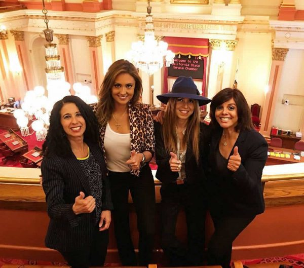 From left, council contender Judie Mancuso with animal rights advocates Katie Cleary, Simone Reyes and Jane Velez-Mitchell speaking at a state capitol hearing.