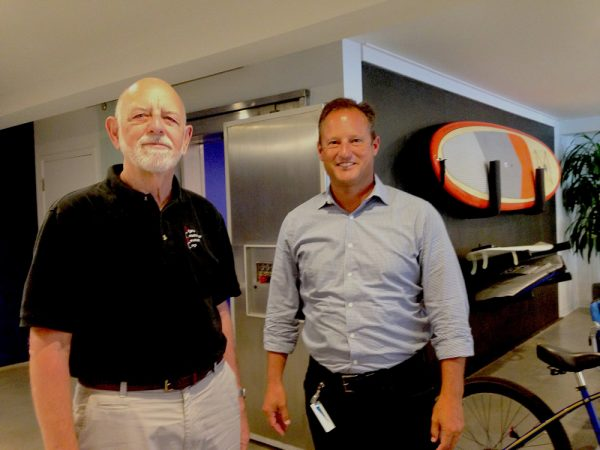 Local contractor Al Oligino, left, led the transformation of a Broadway Street office now occupied by Shift Digital and its regional president, Mike Romano.