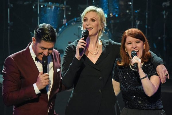 Television star Jane Lynch, center, with Tim Davis and Kate Flannery are expected at a Festival of Arts benefit.