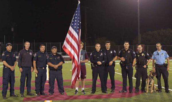 During the half in the Laguna's football game against Segerstrom, the Football Boosters honored representatives of Laguna's first responders. 2.3