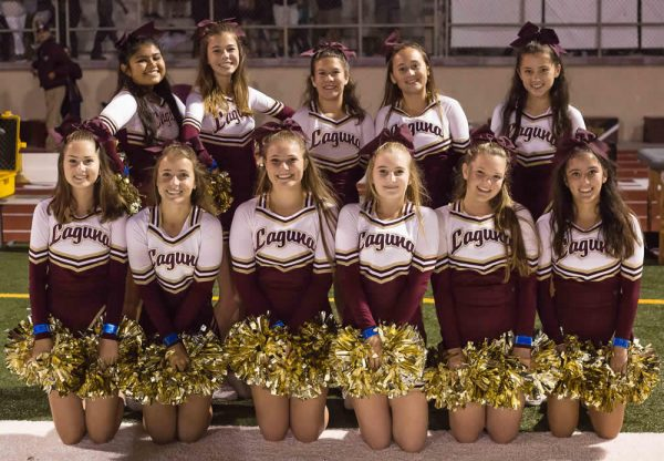 Group Photo of Laguna's Cheer squad during halftime of the Segerstrom game.