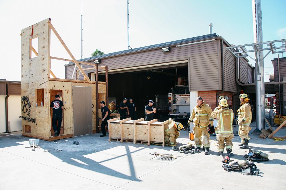 Laguna firefighters Chris OOrnelas, Ian ceCpsta, Scott Hammond, Bryan Sergeant, Jeff White and Scott Jennie participate in training.