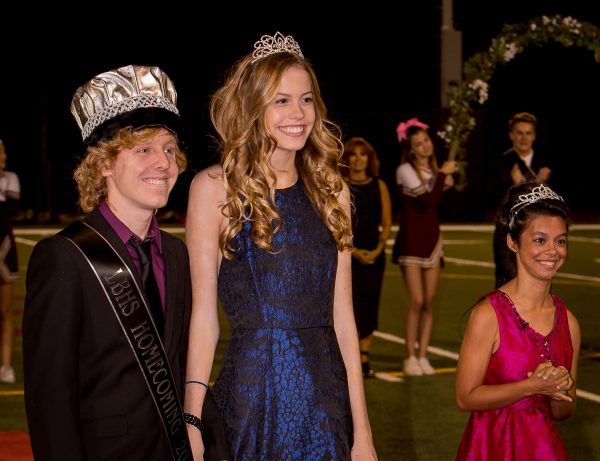 Laguna's 61st homecoming royalty, from left, King Jake Dameshek and Queen Karly Pedersen accompanied by 2016's queen, Moorea Howson.