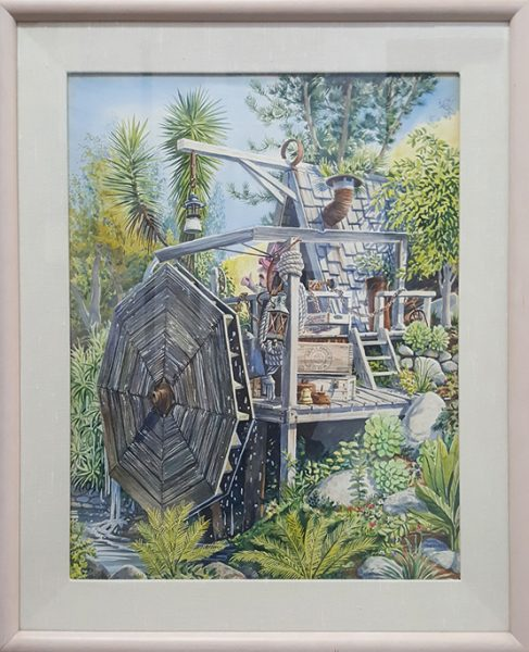 Thornsley's painting depicting the Sawdust Festival water wheel is among the works for sale.