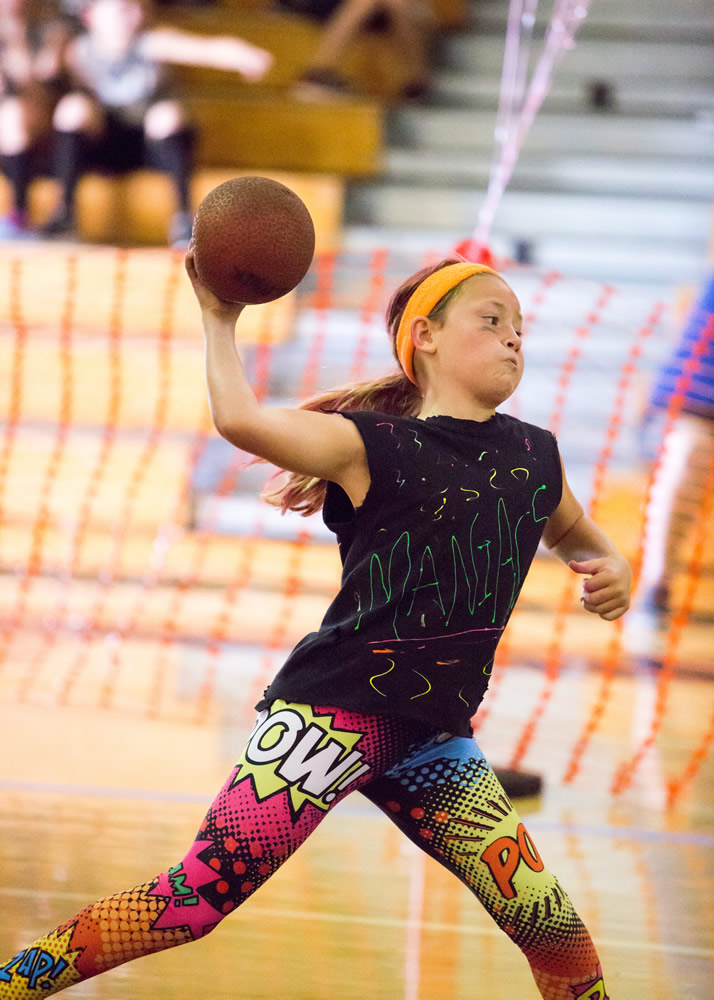El Morro Elementary student Claire Turner's wind-up shows her intensity for the game.