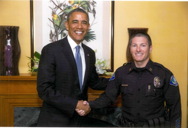 Captain Darin Lenyi grabs a moment with president Obama during a 2012 fundraising visit to a private Laguna Beach home.