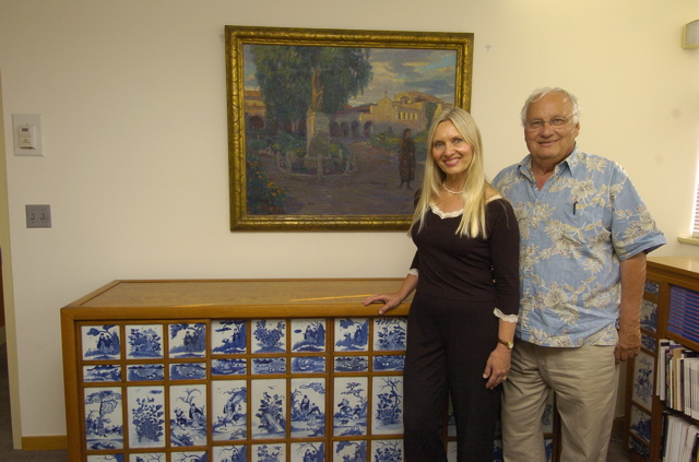 Pam Hagen discovered the eyebrow-raising value of a painting she stored for her neighbor, Al Trevino, whose home was condemned due to the June 1, 2005, Bluebird Canyon landslide. Photo by Cliff Getz