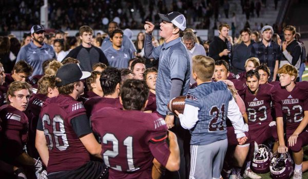 Laguna's head coach John Shanahan extols the Breakers on their victory over the hard-running Boron Bobcats. This season's eight wins is the team's sixth best record in the 82 seasons of varsity football.