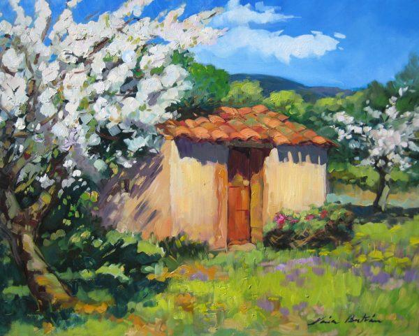 "Bertran's ""Cherry Tree In Bloom,"" is included in the Pacific Edge Gallery exhibit."