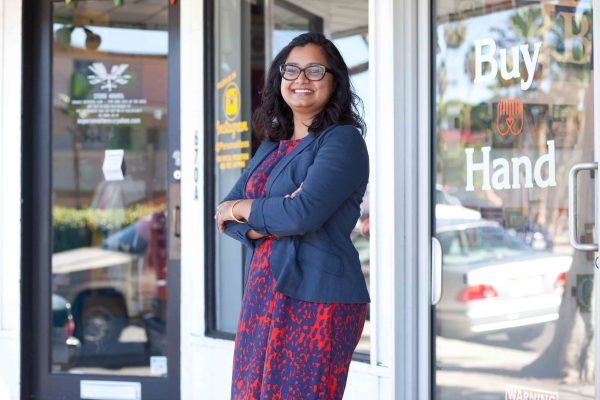 Buy Hand owner Kavita Reddy promotes Small Business Saturday at her Coast Highway gift store.