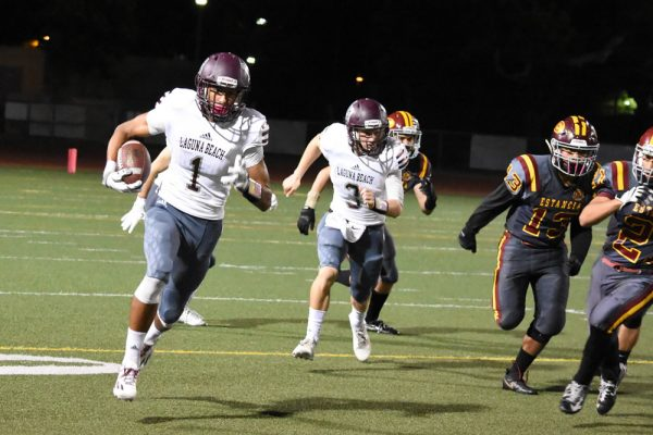 Adam Armstrong carries the ball for the Breakers. Photo courtesy of LBHS Breaker football.