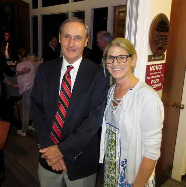 William Landsiedel, who served as president of the Laguna Beach school board during the last year, with newly elected board member Peggy Wolff. Photo by Marilynn Young