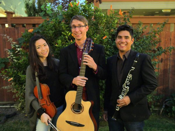 The ensemble Kaleidoscope performs live in a Laguna Art Museum gallery.