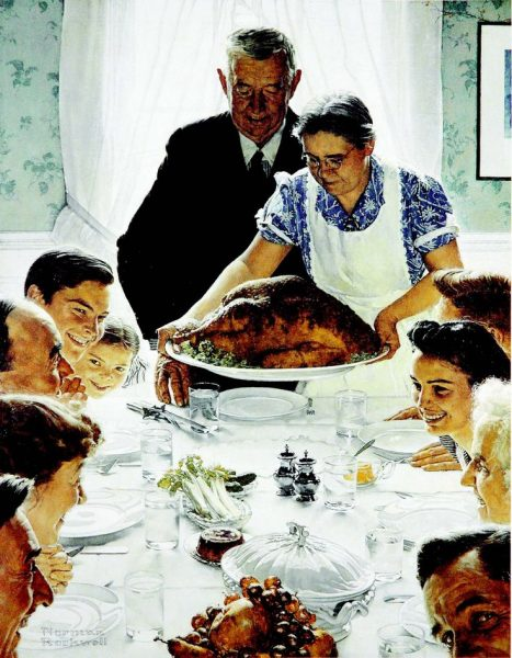 Norman Rockwell's Thanksgiving dinner scene.