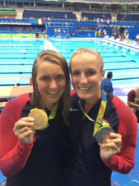 Sisters Aria and Makenzie Fischer win gold in the Rio de Janeiro Olympics in August. Photo courtesy of Leslie Fischer.
