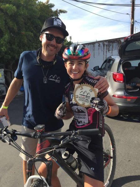 Team director Tony Zentil with pro rider and 50-mile finisher Larissa Connors.
