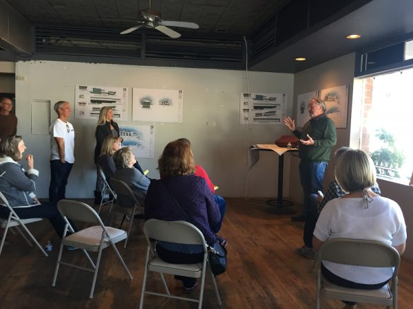 : Architect Marshall Ininns explains the project to residents who lives in the area last Saturday, Dec. 3.