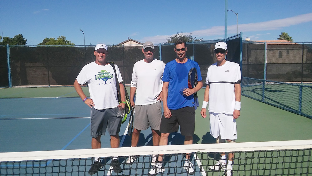From left, Pat Crow and Rick Conkey, both of Laguna Beach, recently defeated Reed Radosevich and Robert Sjoholm, both of Las Vegas, for the doubles title in the 50 and over division at the Las Vegas National Senior Open.