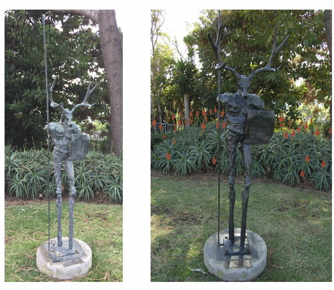 "Artist Cheryl Ekstrom's mythological ""Deer Warrior,"" left, suffers from corrosion compared to how it looked when its was installed in Jahraus Park in 2000. The city is considering an art collection maintenance program."