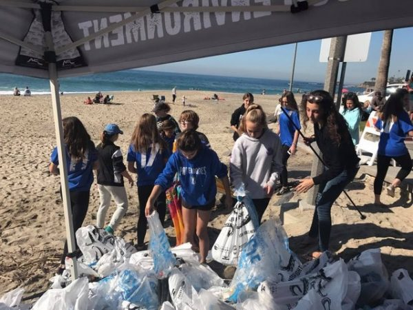 Volunteers survey the results of their handiwork plucking litter off local beaches.
