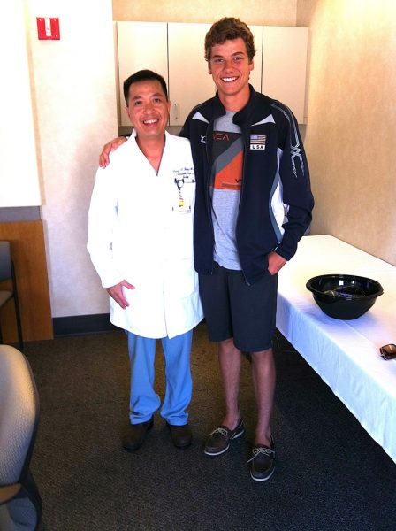 Dr. Bang H. Hoang and his patient, Tim Vorenkamp, who died last January.