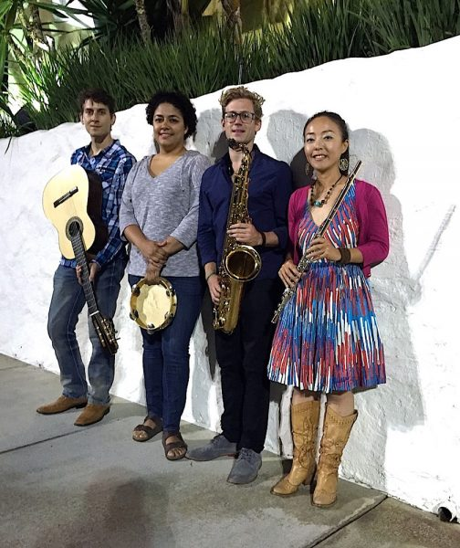 Saxophonist Dan Reckard, second from right, leads Bossa Zuzu.