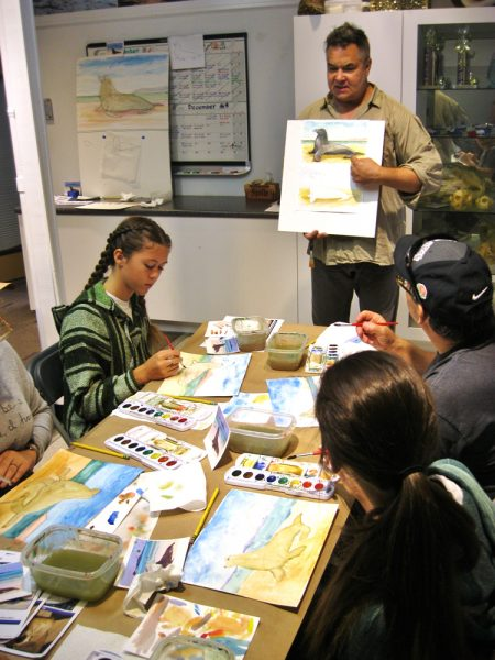 Artist Mike Tauber gives direction in a LOCA workshop.