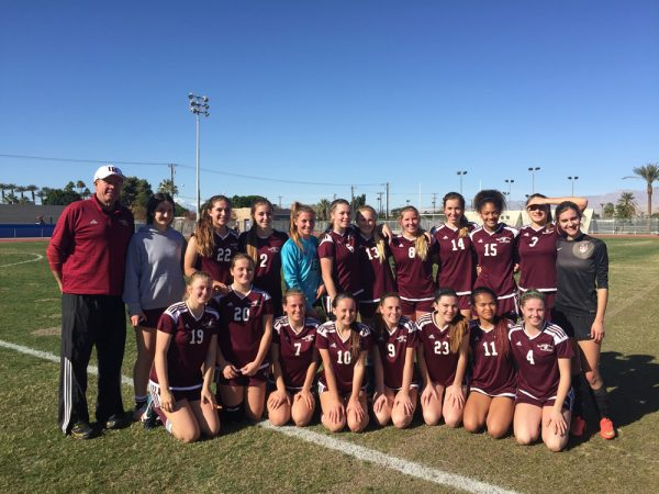 Breakers went 2-0-1 in a desert tournament last week and will open at home Wednesday, Jan. 11, hosting Calvary Chapel. Soccer Coach Bill Rolfing is in his 13th season guiding the girls. He coached the boys from 1979-83. Back row, from left, Coach Rolfing, Bianca Brock, Britain Sammons, Brynn Anderson, Cameron Russo, Shea Skenderian, Alden Kramer, Greer Jacobs, Piper Naess, Reilyn Turner, Cambria Hall and Reno Sammons; front, Jaden Christiansen, Kate Kruger, Anika Pitz, Christine Johnson, Haylee Jarvis, Emily Addis, Shanai Auguis and Lilli Cook.