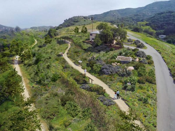 An architectural rendering shows the planned native plant garden and interpretive trails around new headquarters of Laguna Canyon Foundation.