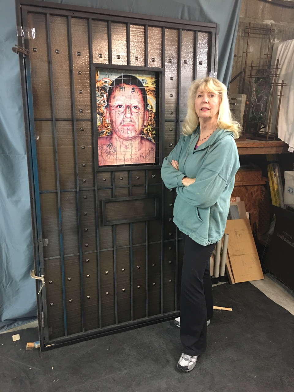 """Work from the Leslie D. Davis and Gregg Stone exhibit """"Incarceration"""" depicts research on prisoners in solitary confinement, many who suffer mental illness after 20 days in isolation. """"I hope to take viewers emotionally out of their comfort zone and use their voices to outlaw this practice,"""" she says."""