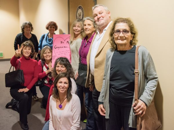 Patti Jo Kiraly holds a Valentine among other activists from the Indivisible OC48 Tuesday, Feb. 14, at Rep. Dana Rohrabacher's office in Huntington Beach. Photo curtesy o Patti Jo Kiraly.