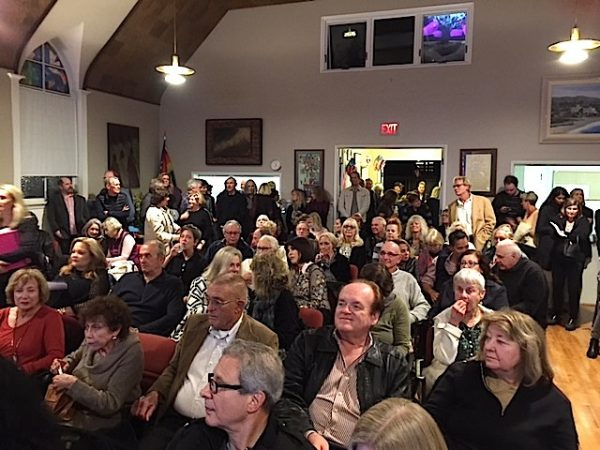 The Laguna Beach Democratic Club draws a standing room only crowd at a strategy meeting earlier this month.